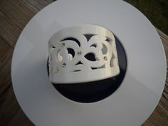 Mod style white carved filigree lucite Wide Cuff by vintagefinds61, $18.00