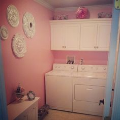 Who wouldn't want to do laundry in a pink room! Pink Laundry Rooms, Laundry Room Bathroom, Laundry Room Inspiration, Room Closet, Pink Room, Cottage Chic, Interior Design Inspiration, Home Goods, Valspar Paint