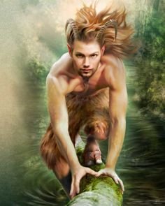 A wild Satyr or Faun. Generally when depicted as still youthful and innocent, goat-men are referred to as Fauns. (Greek God Pan) Fathoms Between Greek Gods And Goddesses, Greek And Roman Mythology, Pan Greek Mythology, Magical Creatures, Fantasy Creatures, Fantasy World, Fantasy Art, Wicca, Magick