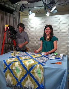 I wasnt able to find this specific tutorial but the blog it links to is pretty good. Op: Hannah Kate Flora - DIY ikat rug  Wonder if this could work on a shower curtain?