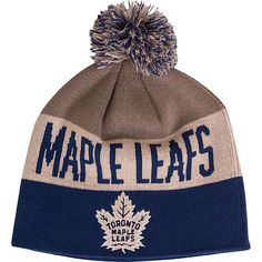 Toronto Maple Leafs Old Time Hockey Men's Travy Cuffless Scripted Pom Toque - shop.realsports - 1