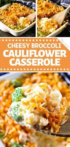 Cheesy Broccoli Cauliflower Casserole is an easy holiday side dish you can make ahead! A healthy cas