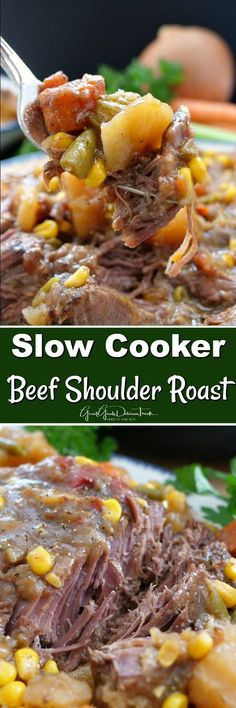 Slow Cooker Beef Shoulder Roast is a delicious slow cooker recipe that is fall of the fork tender and loaded with delicious vegetables. A family favorite. Slow Cooker Roast Beef, Crock Pot Slow Cooker, Pressure Cooker Recipes, Crockpot Meals, Beef Shoulder Steak, Beef Dishes, Meat Dish, Roast Recipes, Goodies