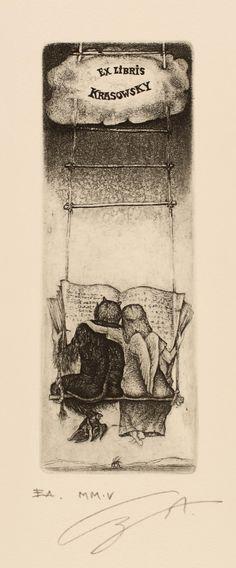 Ex libris for E. Krasovsky (artist Allexandr Grigoriev)