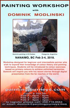 Here is the info for my upcoming workshop in Nanaimo! Nanaimo Painting Workshop Location: Clay Tree Society, 838 Old Victoria Road Nanaimo, BC Feb 2 - 4 Please register directly with Dominik or call: 716 0553 Workshop Design, Painting Workshop, Color Theory, Painting Techniques, Presentation, Clay, Colours, Studio, Digital