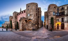 "Panorama of Ancient Roman Gate and Placa Nova in the Morning, Barri Gothic Quarter, Barcelona, Catalonia, Spain  Follow me on my <a href=""http://blog.ansharphoto.com"">Blog</a> 