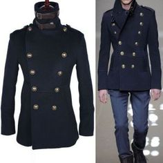 Outerwear :: Slim Fit High Neck Navy Peacoat-Coat 05 - Mens Fashion Clothing For An Attractive Guy Look