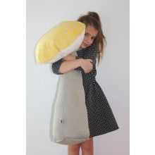 ANNABEL KERN Giant Mushroom Cushion Magic Lemon  --- Super cuddly organic cotton mushroom cushion by Annabel Kern, perfect as floor cushion and addition to any kid's bedroom. Dimensions: 60 x 40 cm (also available in small) Material: 100% Cotton cushion with polyester stuffing. Washable.