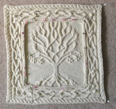 annemariep's Celtic Tree Pillow : I wanted an extra pillow to go with the two from Barbara A Pott that I have already knitted – Celtic Oak and Celtic Rowan Pillows. I loved the tree by Ariel Barton and thought it would be perfect f… Knitting Squares, Cable Knitting Patterns, Crochet Squares Afghan, Lace Knitting, Knitting Stitches, Knitting Designs, Knitting Projects, Crochet Projects, Crochet Patterns
