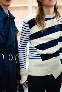 Alexander McQueen, Spring 2016 Backstage, captured by Kasia Bobula Knitwear Fashion, Knit Fashion, Style Casual, My Style, Foto Fashion, Fashion Men, Nautical Stripes, Nautical Fashion, Mode Inspiration