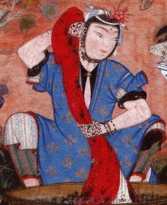 Welch, Stuart Cary. Wonders of the Age, Masterpieces of Early Safavid Painting, 1501-1676. Cambridge, MA: Fogg Art Museum, 1979, p. 179  Henna on the hands? Under dress in white with embroidery? and a shorter black under dress / top?  Link is crap as this came from the Persian clothiers facebook