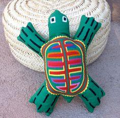 Green Mola Spirit Sea Turtle  Hand Sewn Kuna Indian by molamama, $27.50