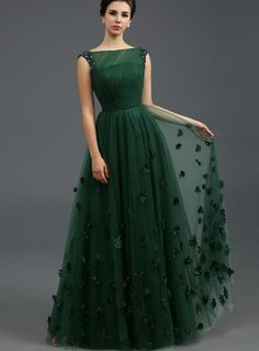 ihomecoming.com SUPPLIES Stunning Bateau Neckline Beading Flowers A-Line Floor-Length Evening Dress Elegant