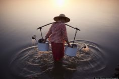 """Lady In Water"" by Marcelo Salvador.... In Bagan, Myanmar, 2013... National Geographic Traveler Photo of Merit!"
