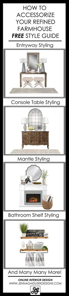 DESIGNER TIPS! How to style your home including console table, bathroom shelves, buffet, storage console, entry table. Design tips, decorating ideas, living room design, accessorize my home, style my house, interior design, interior decorating, online shopping, designer ideas, modern farmhouse, fixer upper, refined farmhouse, transitional design, classic design, gray, rustic, coastal, new house, home decor, accessories, bedroom, basement, online interior design. JENNA GAIDUSEK DESIGN