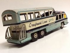VINTAGE 1950's SCENICRUISER GREYHOUND BUS TIN LITHO FRICTION Made in JAPAN T.N.