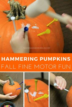 Grab some pumpkins and invite your preschoolers to hammer golf tees into them! This is such a fun fall activity that strengthens fine motor skills!