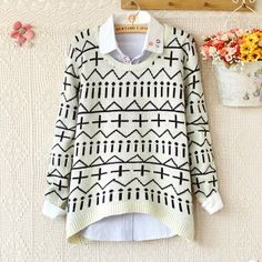 Unique Warm Irregular Long-Sleeved Sweater for only $21.90 ,cheap Sweaters & Cardigans - Clothing & Apparel online shopping,Unique Warm Irregular Long-Sleeved Sweater is designed by Geometric patterns.It is more fashion and unique.