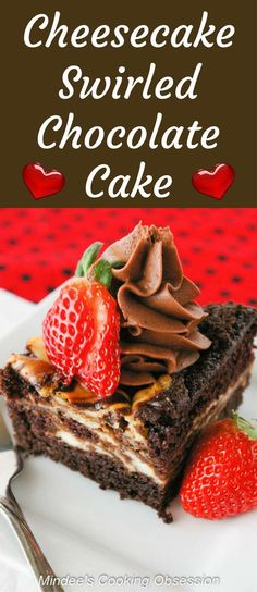 Cheesecake swirled chocolate cake is as easy as it is delicious. You'll love this dense, moist cake with swirls of cheesecake throughout! via /https/://www.pinterest.com/mindeescooking/