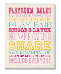 Pink 'Playroom Rules' Wall Sign