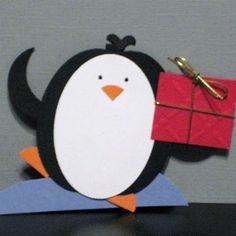 Penguin with present punch art