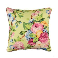 """OFS™ 18"""" x 18"""" Elsberry Spring Floral Decorative Pillow with Piping"""