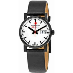 Mondaine Evo White Dial Black Leather Ladies Watch ($100) ❤ liked on Polyvore featuring jewelry, watches, bezel jewelry, dial watches, water resistant watches, white faced watches and crown jewelry