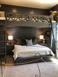 34 Affordable Bunk Beds Design Ideas For Boys Room - Parents who have more than one child will absolutely adore bunk beds for kids. They provide a fun experience of sleeping and save a lot of room space. Bunk Bed Rooms, Bunk Beds For Boys Room, Adult Bunk Beds, Queen Bunk Beds, Bunk Beds Built In, Boy Bunk Beds, Built In Beds For Kids, Corner Bunk Beds, Cabin Bunk Beds