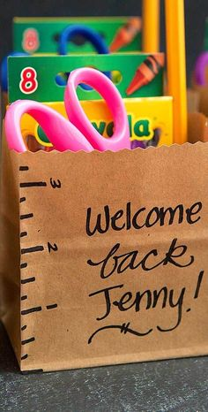 Teachers: Create adorable welcome kits for your students for their first day of kindergarten! These gift bags are the perfect way to get your students excited for school.