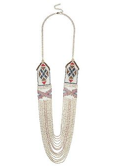Patterned seedbead drape necklace (original price, $20) available at #Maurices