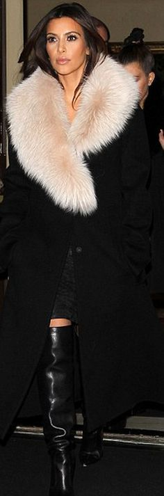 Who made  Kim Kardashian's black coat and black boots that she wore in London?
