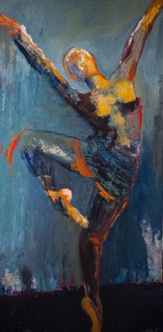 """""""Momentum"""" by Shelby McQuilkin dance, ballet, mixed media, large painting,"""