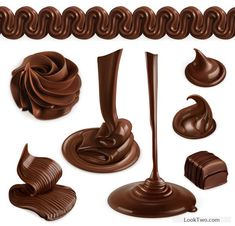 Dripping  chocolate in formed structure, 8 different chocolate flowing, flow…