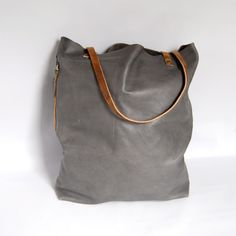 Large Camino leather tote bag in grey - macbook pro bag