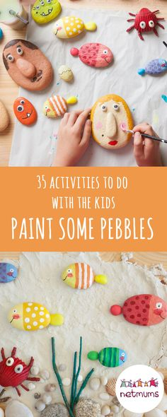 When it's raining or snowing – and you're stuck inside with the kids – it can be tricky to find ways to entertain them. Luckily, we've got 35 fun activities to keep them busy . Try painting some pebbles. Rainy Day Activities, Activities To Do, Indoor Activities, Summer Activities, Summer Crafts For Kids, Crafts For Kids To Make, Summer Ideas, Camping With Teens, Girls Camp