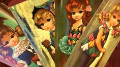 Set of 4 Vintage Eden Harlequin Moppet Prints 1964 Retro Kitsch Mid-Century Modern Big-Eye Girls in Margaret Keane Style 1960ss by FairOaksAntiques