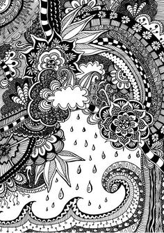 Free coloring page for adults. Nature with doodles. Zentangle Nature. Gratis kleurplaat voor volwassenen. Natuur.