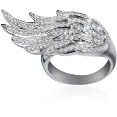 AS29 Pinky Wing Ring (5 410 AUD) ❤ liked on Polyvore featuring jewelry, rings, accessories, wing ring, wing jewelry and white diamond ring