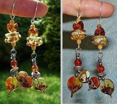 Flammèches ✿ Boucles d'oreilles romantiques bohèmes, perles filées, cuivre plaqué argent ✿ Idée cadeau Maman ambre : Boucles d'oreille par asta-en-bretagne