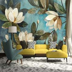 Gorgeous magnolia print wallpaper with complementary furniture
