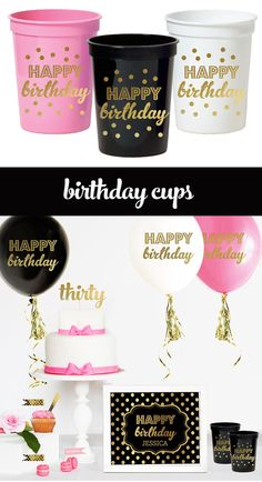 Adult Birthday Party Decorations Cups printed with Happy Birthday are great ideas for a black and gold 30th birthday party - by Mod Party