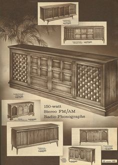 1965 House Decor | Vintage Home Decorating, TVs, Transistor radios, phonographs, tape ...