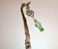 Hummingbird Bookmark with Rose & Green Glass Beads by BlissfulVine, $7.50