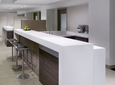 Corporate Office Kitchens | Multi-level counters differentiate the counter seating/work area from ...