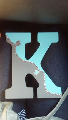 Handmade Letter Tiffany Blue and Gray #kraftykinzee