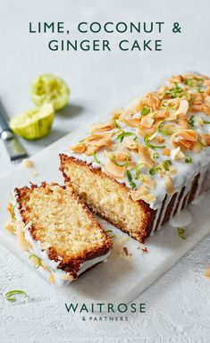16 Jan 2020 - Lime, coconut and ginger loaf cake with spicy stem ginger icing. This zesty bake will bring a burst of sunshine to any party. Tap for the full Waitrose & Partners recipe. Baking Recipes, Cake Recipes, Dessert Recipes, Loaf Recipes, Just Desserts, Delicious Desserts, Yummy Food, Food Cakes, Cupcake Cakes