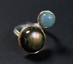 925 Sterling Silver Adjustable Gold Labradorite Amazonite Labradorite, Sterling Silver Jewelry, Silver Rings, Jewelry Companies, Engagement Jewelry, Gemstone Rings, Gemstones, Diamond Jewelry, Gold Jewelry