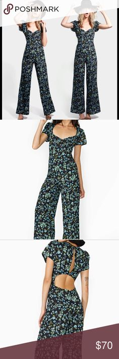 Reformation for Nasty Gal Mariner jumpsuit small Reformation for Nasty Gal Mariner Jumpsuit Great, floral blue jumpsuit! Small size, very lightly used, i've worn it maybe 2-3 times. Now i cannot fit in it.  Tags: nasty gal Madewell Asos American apparel urban outfitters Anthropologie free people Reformation Pants Jumpsuits & Rompers