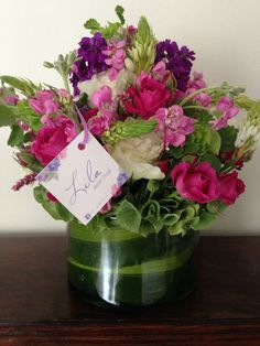 Tulips and lisianthus flowers purple clear vase lila atelier pink purple and white flower arrangement lila atelier floral mightylinksfo