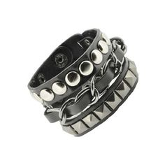 Leather Silver Stud Wristband 80s Gothic Punk Glam Emo ($7) ❤ liked on Polyvore featuring jewelry, bracelets, punk rock jewelry, leather jewelry, silver jewelry, 1980s jewelry and goth jewelry